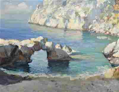 Coastal Scene - Unknown Artist - Illegibly Signed