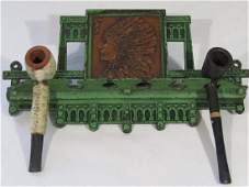 Cast Iron Pipe Rack with American Indian Design
