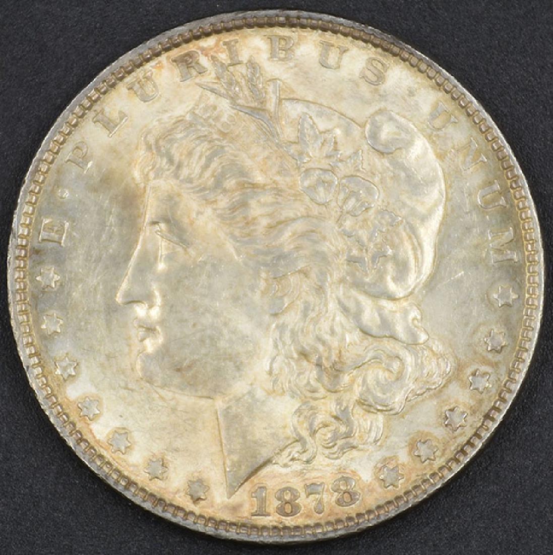 1878 7 TF Morgan Silver Dollar. Ungraded, Coin capsule