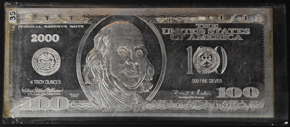 2000 4 oz. .999 Fine Silver $100 bar