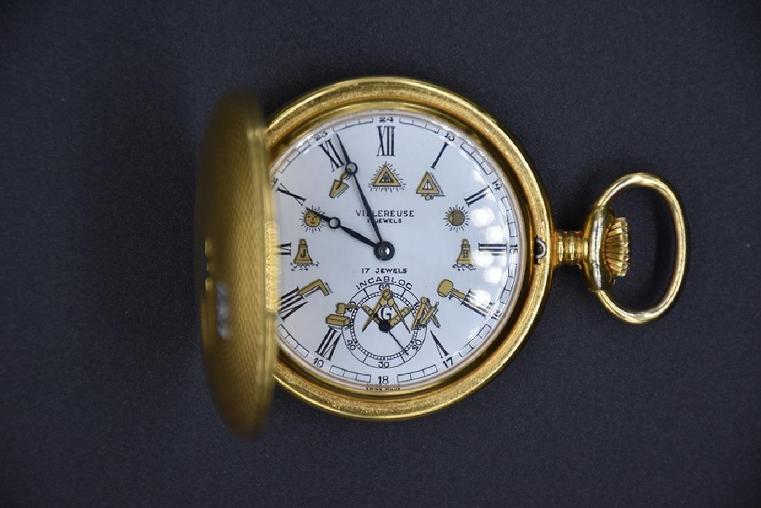 Villereuse 17J pocket watch w/ Masonic Dial - 2