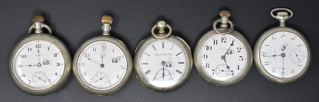 Five Elgin Pocket Watch's some w/ silveroid cases