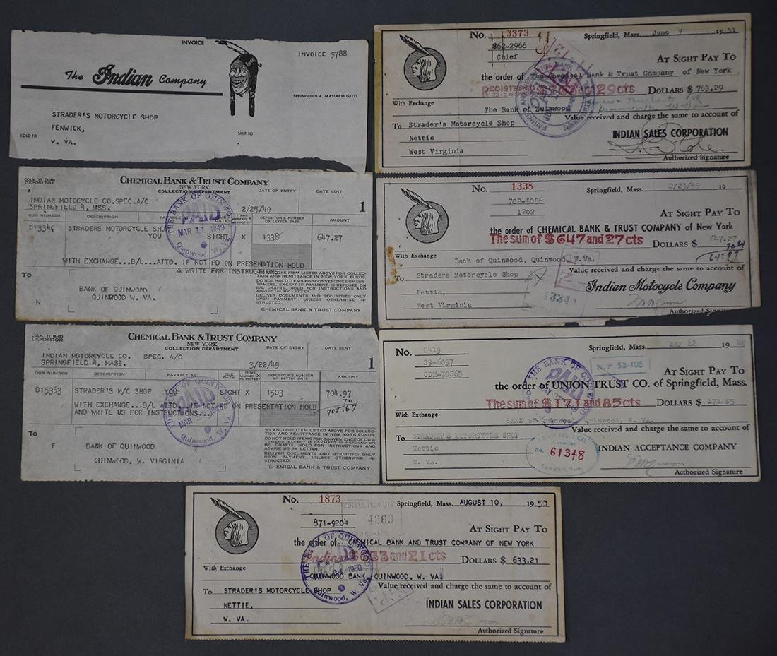 Group of early Harley Davidson and Indian Receipts and