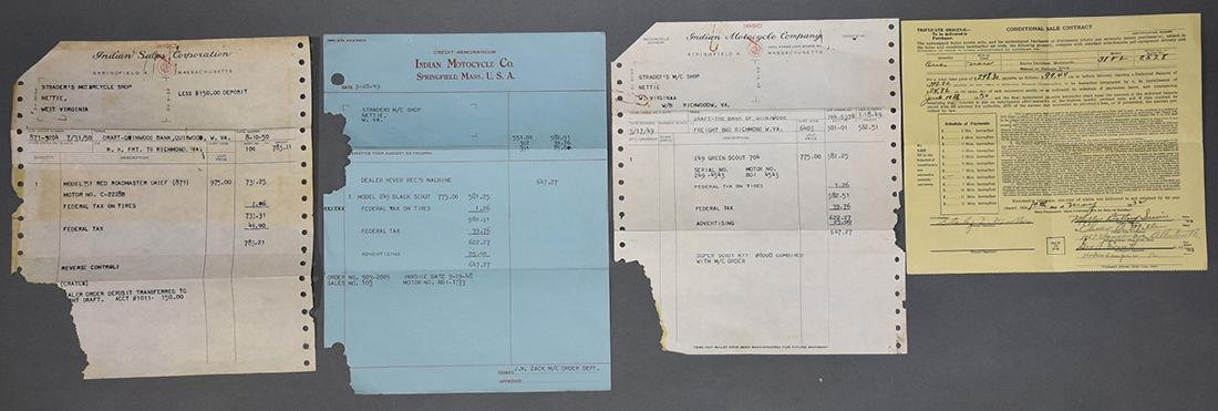 Group of early Harley Davidson and Indian Receipts and - 2