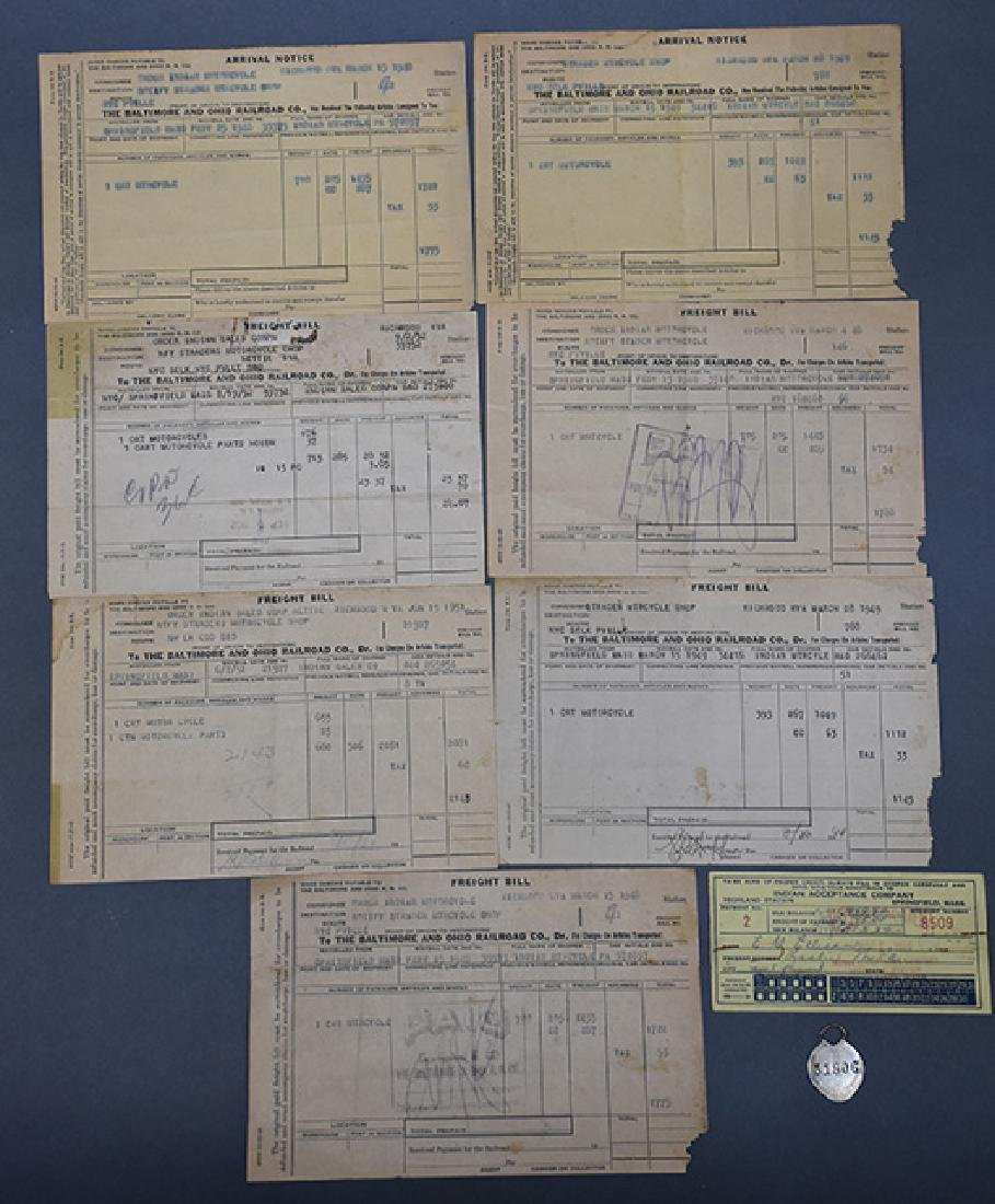Group of early Harley Davidson and Indian Receipts and - 3
