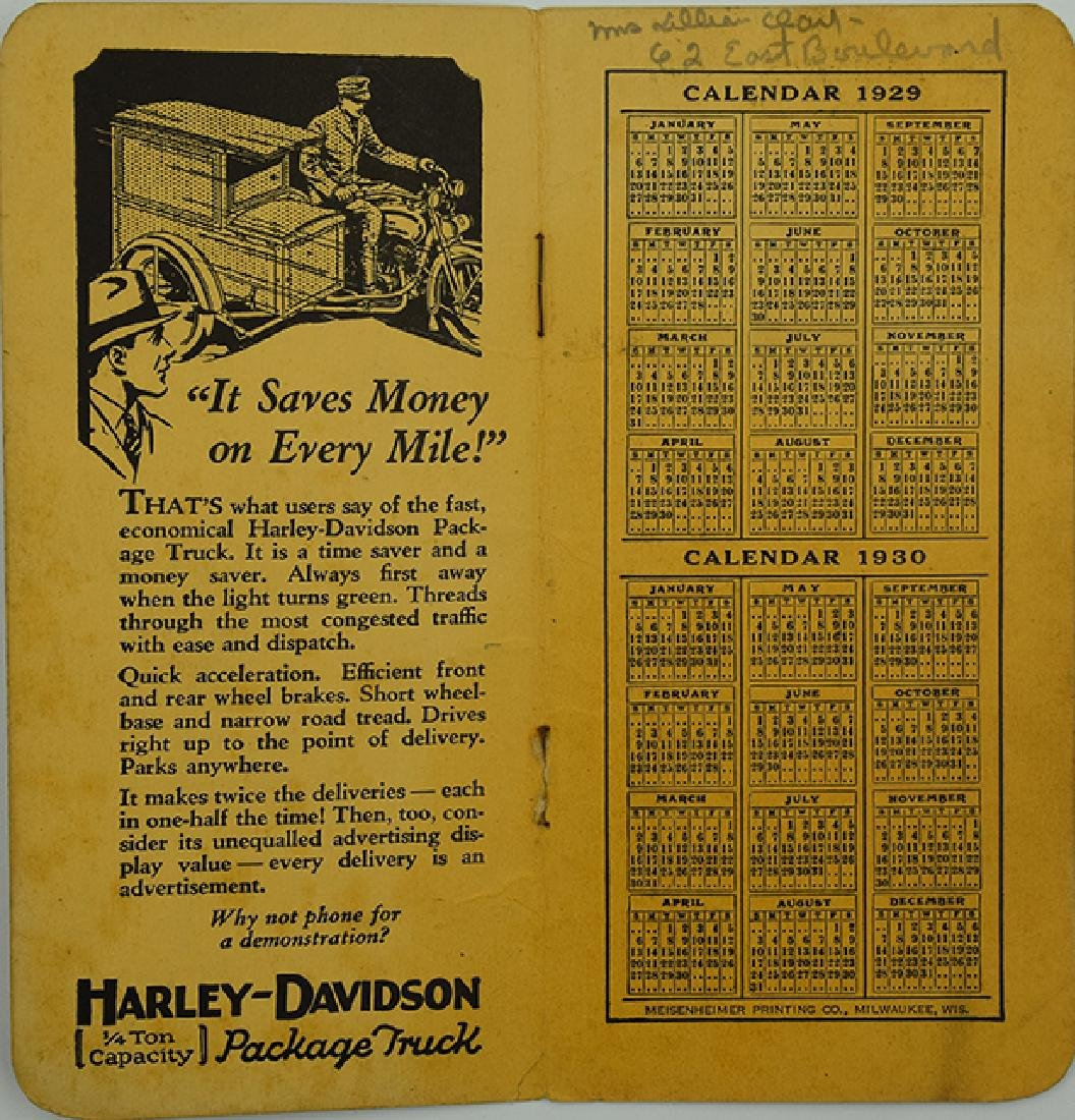 1929 and 1930 Harley Davidson Calendar - 2