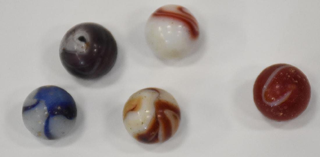 1 group of 11 antique hand made swirl marbles, 5/8s in - 3
