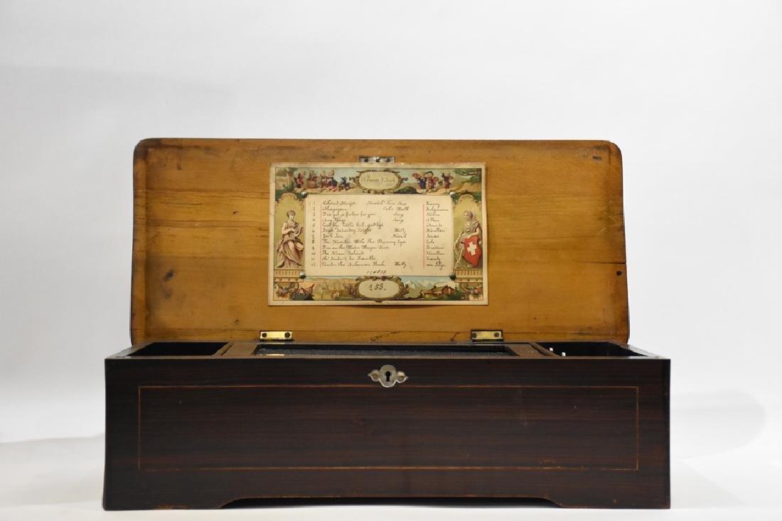 """12 tune Swiss music box, 7"""" comb - 2"""