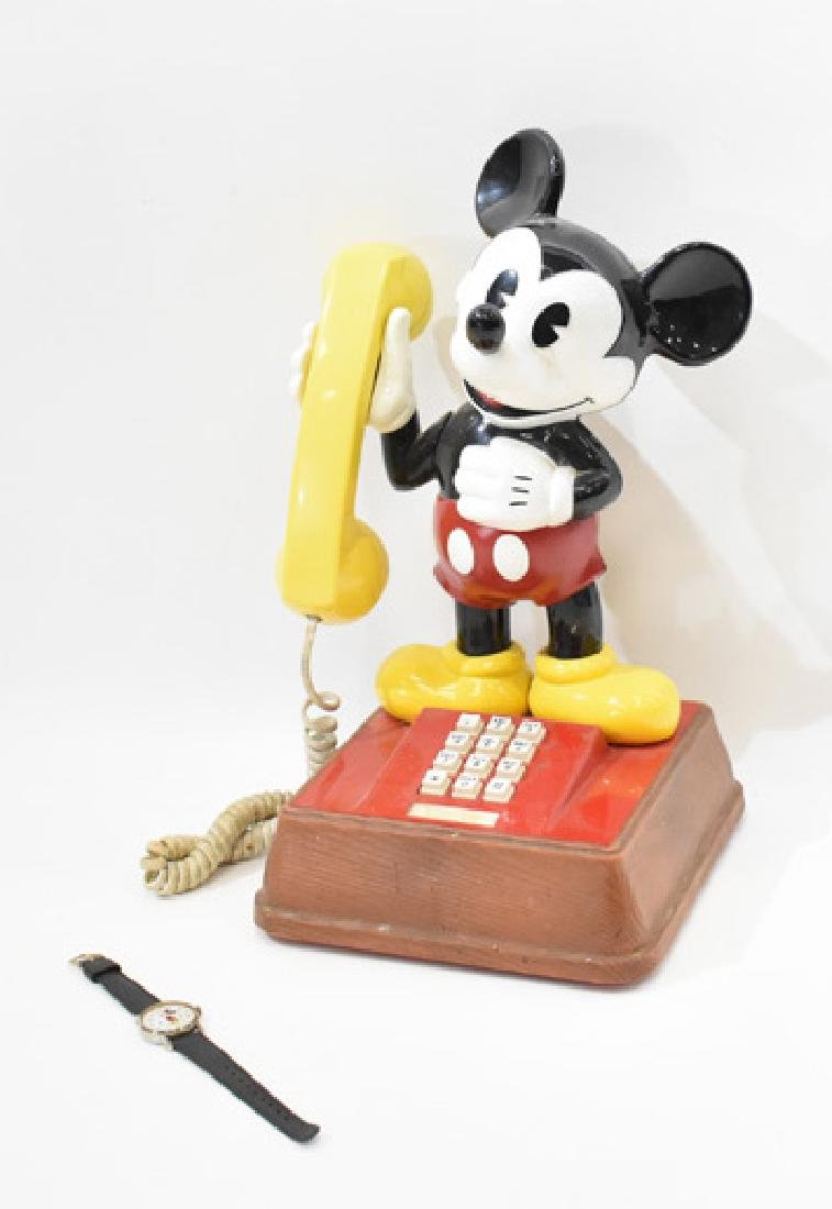 mickey mouse telephone and watch