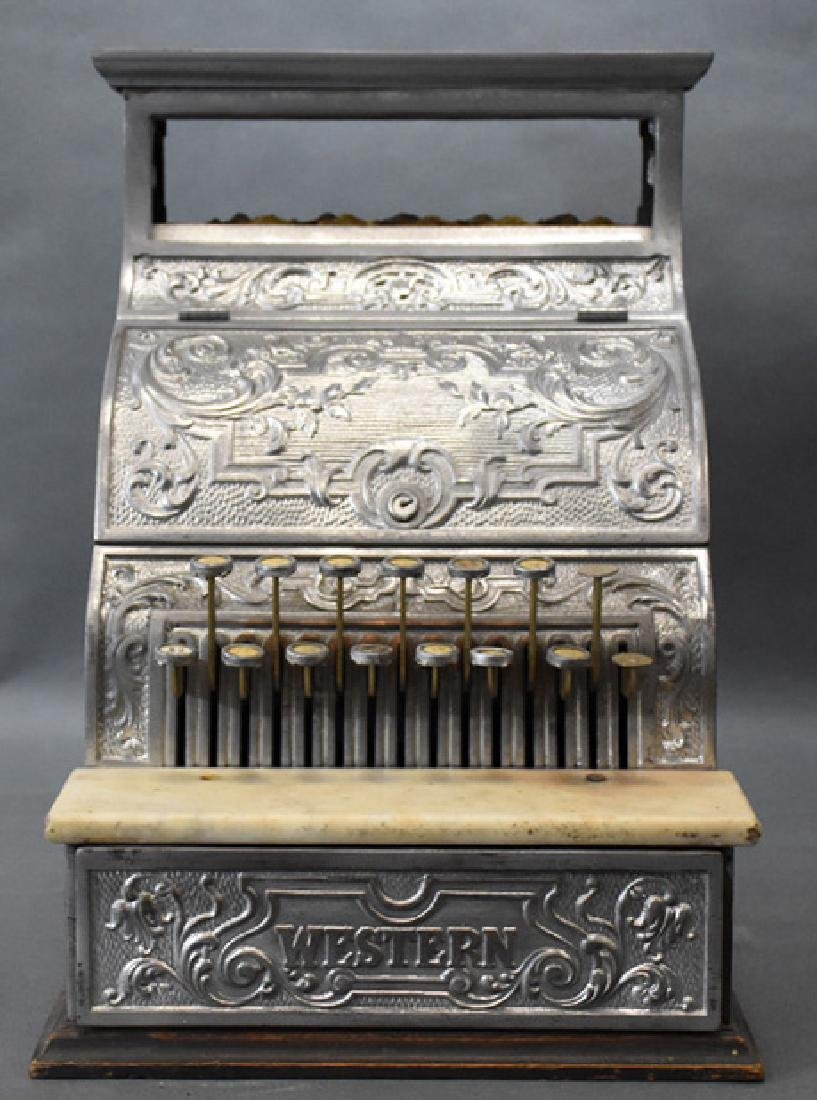 Burdick Corbin Western model nickle cash register - 5