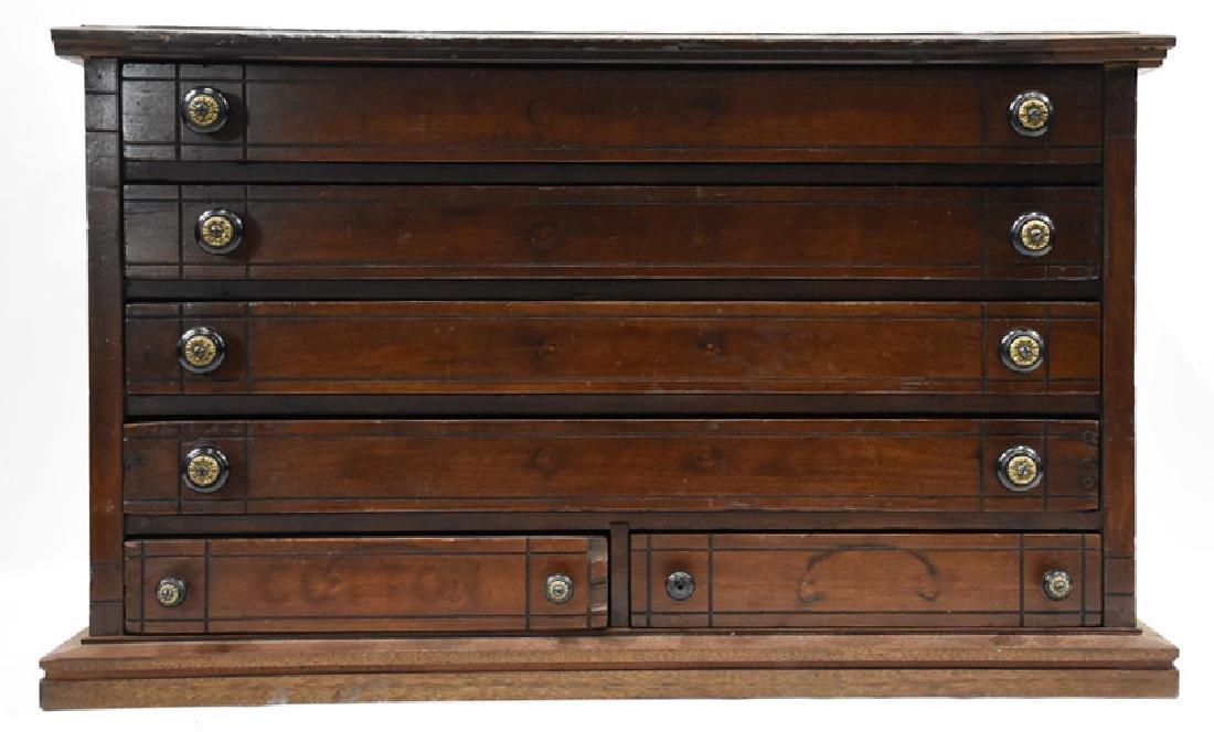 walnut 6 drawer spool cabinet