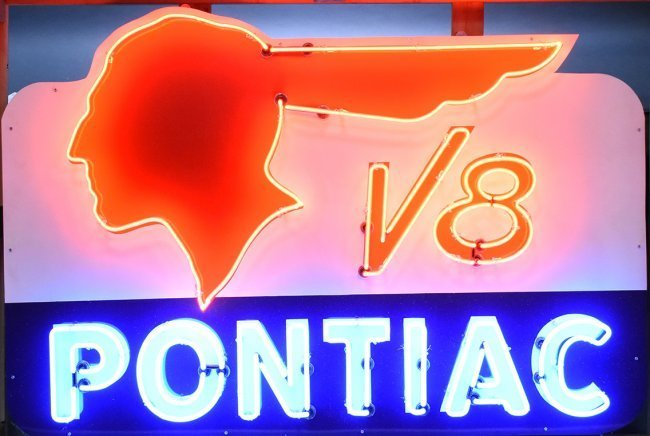 Pontiac V-8 Feathered Indian Neon Sign