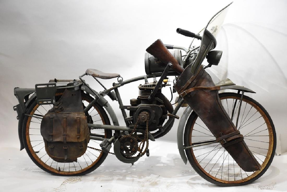 Goodrich Military bicycle with engine and Indian gas