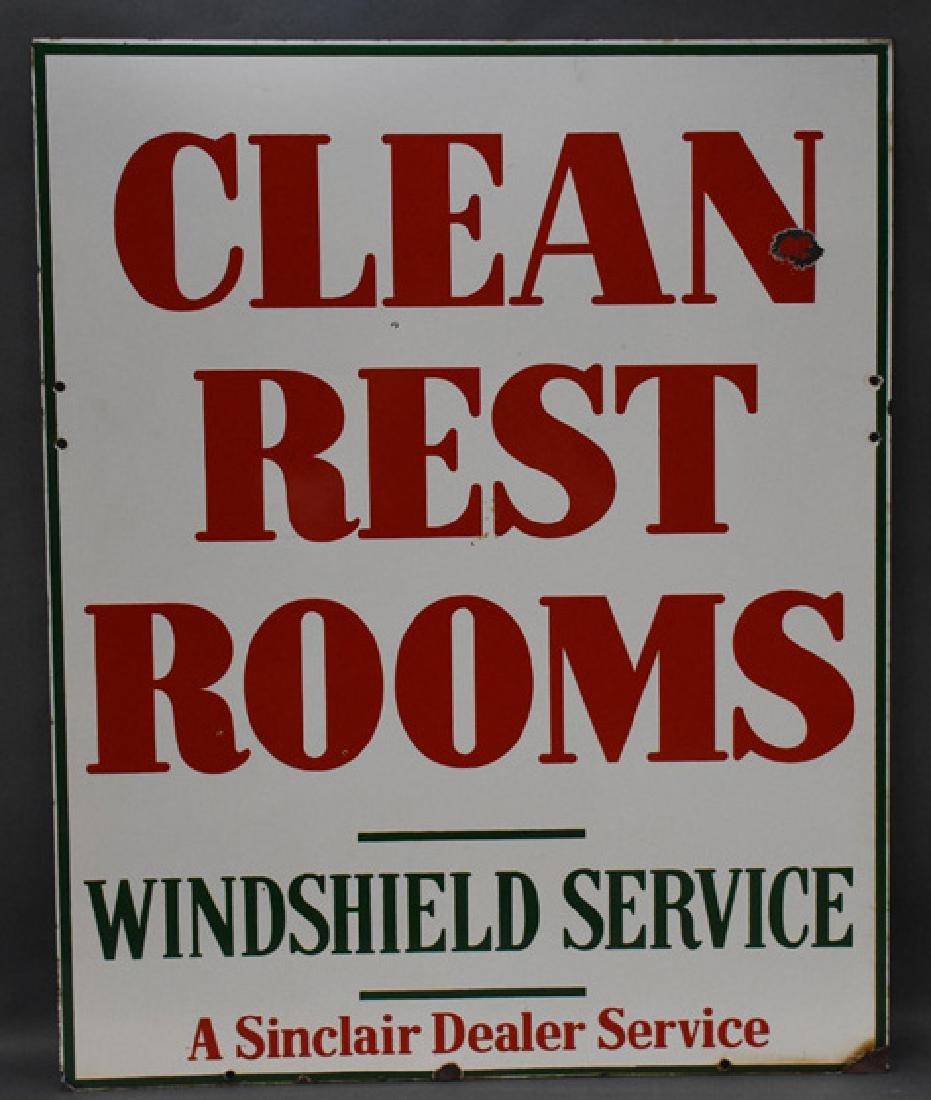 Sinclair dealer services clean restroom porcelain sign