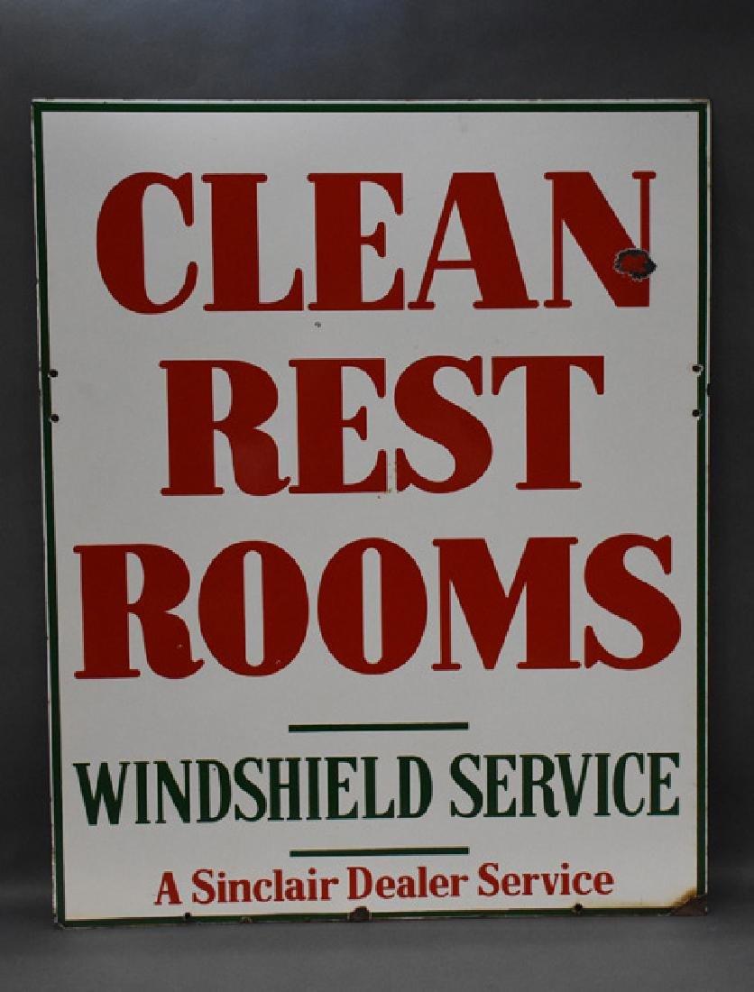 Sinclair dealer services clean restroom porcelain sign - 2