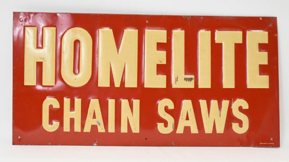 Homelite Chainsaw embossed tin sign