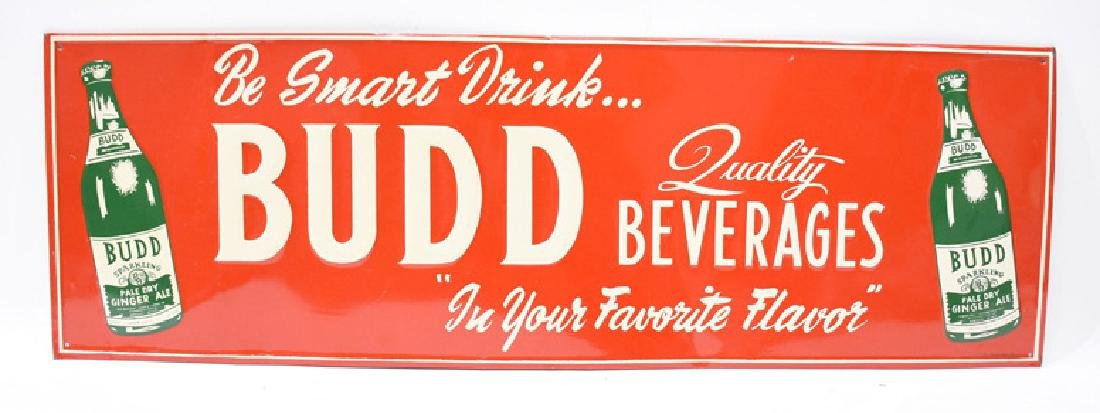 Budd quality beverages tin sign