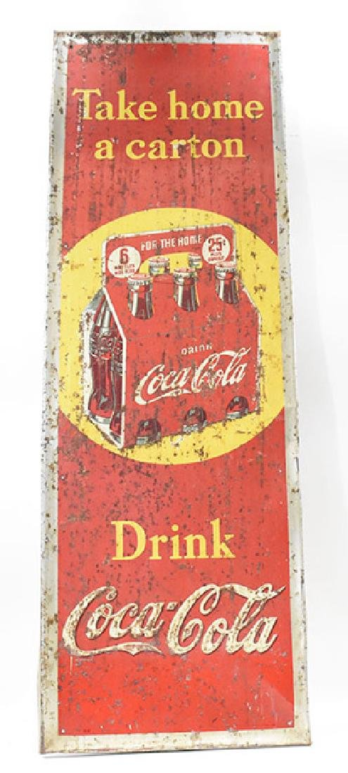 coca-cola take home a carton 25 cent tin sign