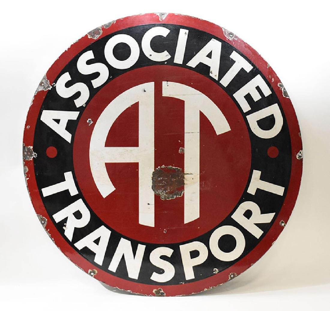 Associated transport porcelain sign