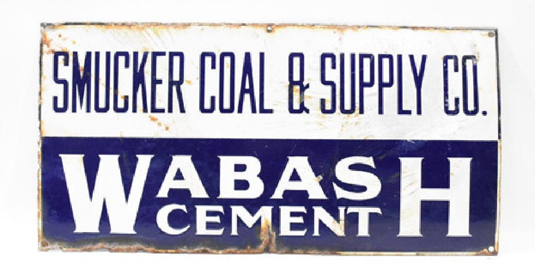 Smucker coal and supply Wabash cement porcelain sign