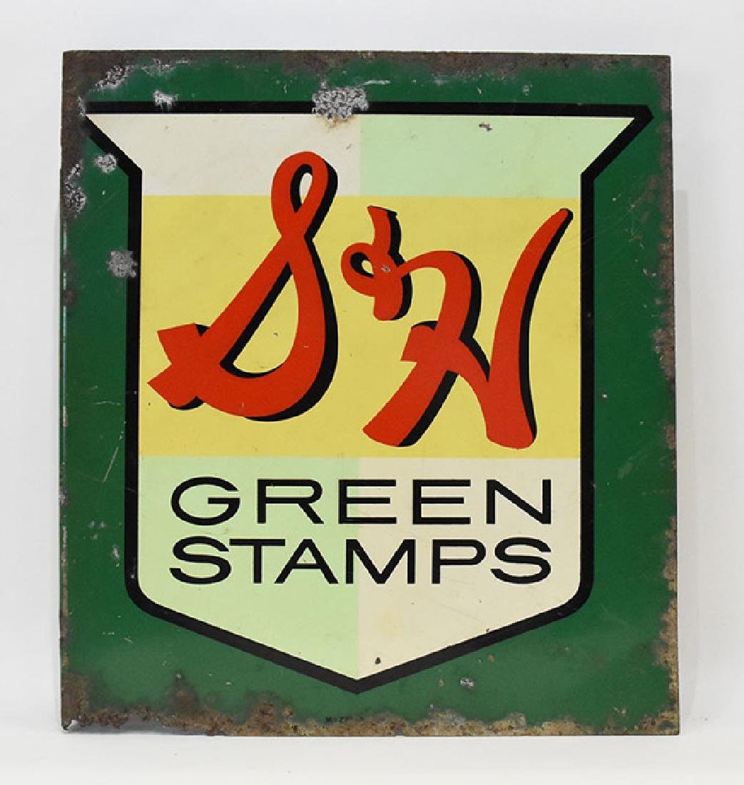 S&H green stamps  flanged 2 sided sign