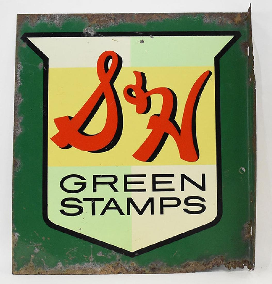 S&H green stamps  flanged 2 sided sign - 2