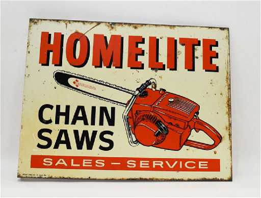Homelite chainsaw flanged 2 sided sign greentooth Images