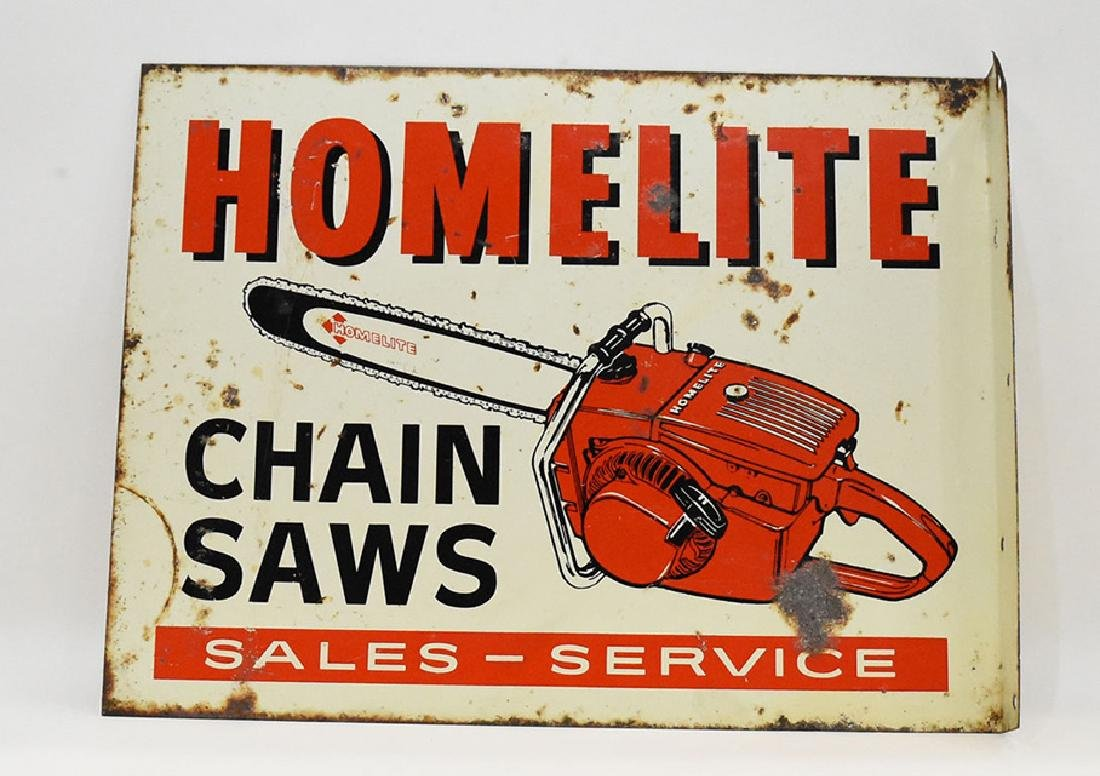 Homelite chainsaw flanged 2 sided sign - 2
