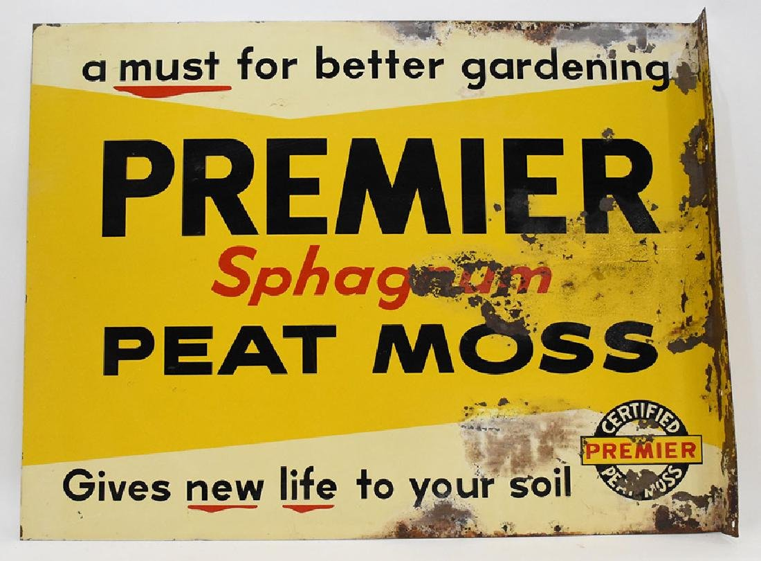 Shagnum Premier peat moss Metal flanged 2 sided sign