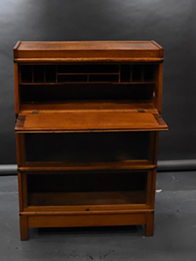 oak 3 stack globe wernicke bookcase desk - 2