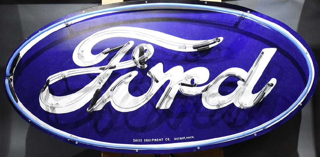 Oval Ford Neon Sign Sales Equipment Co Detroit Michigan