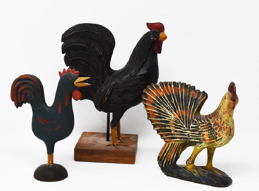 3 carved wooden chickens - 2