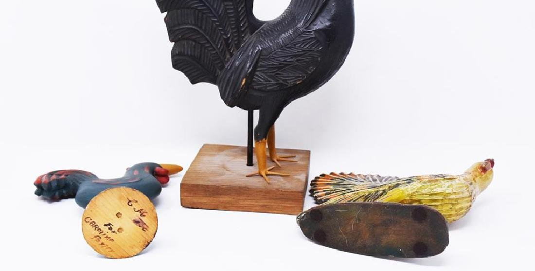 3 carved wooden chickens - 3