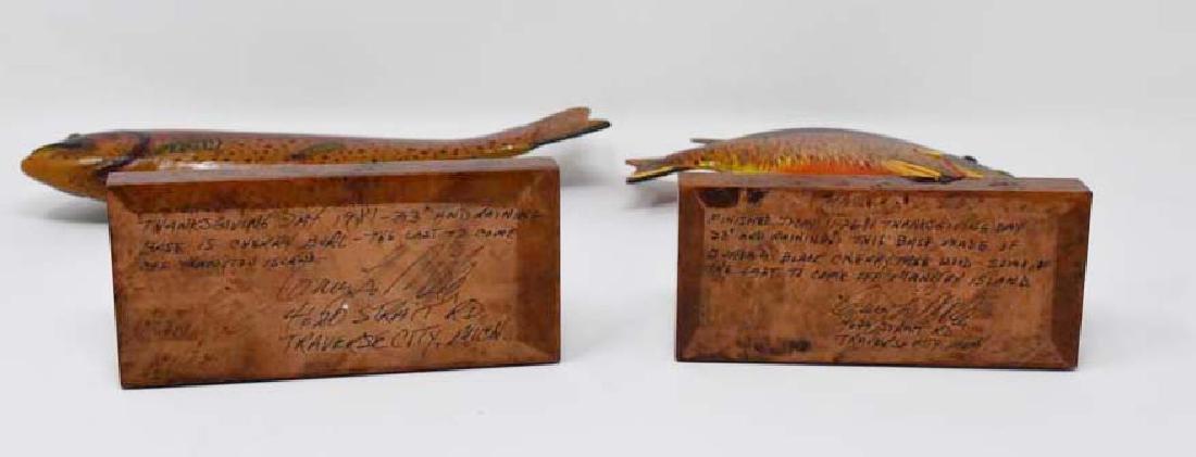 2 wooden fish decoys - 2