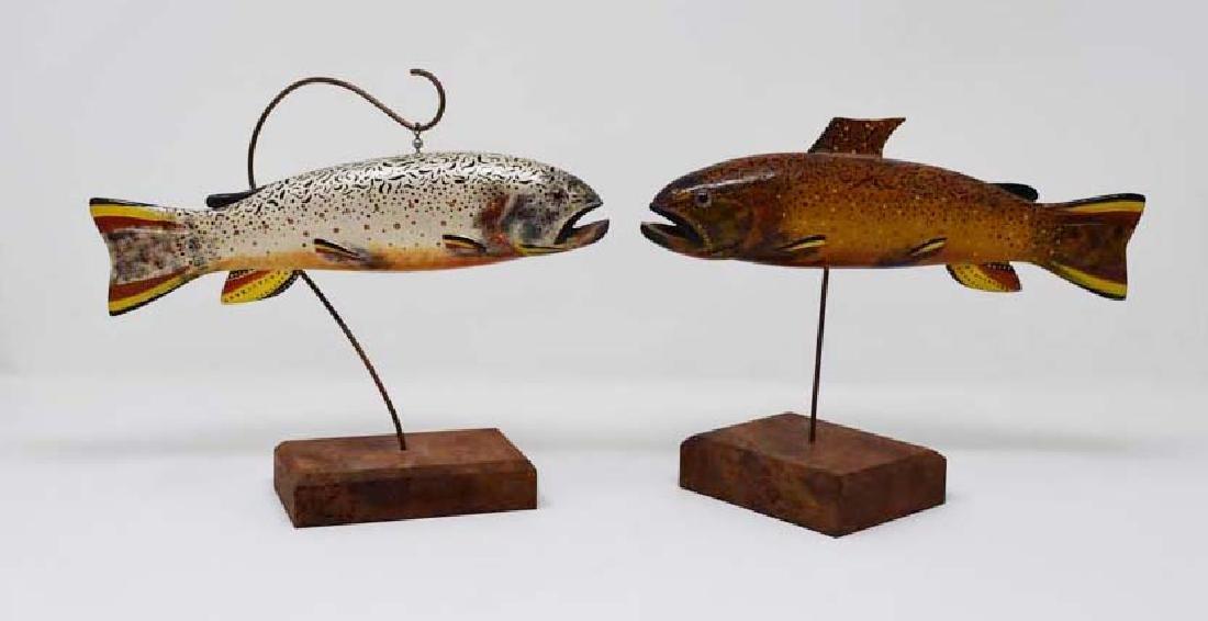 2 wooden fish decoys