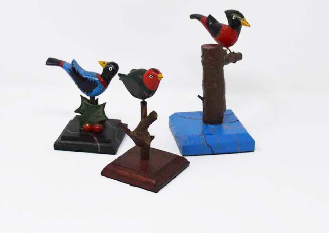 3 signed Tom King wooden birds