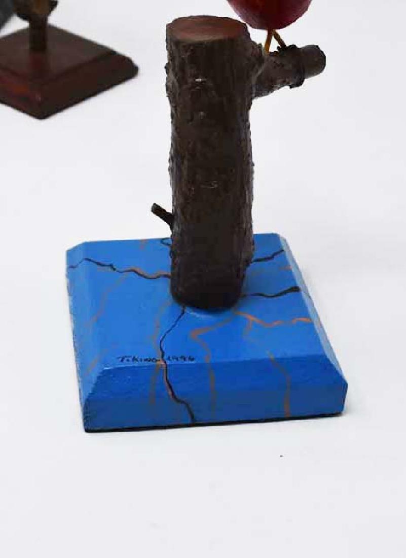 3 signed Tom King wooden birds - 2