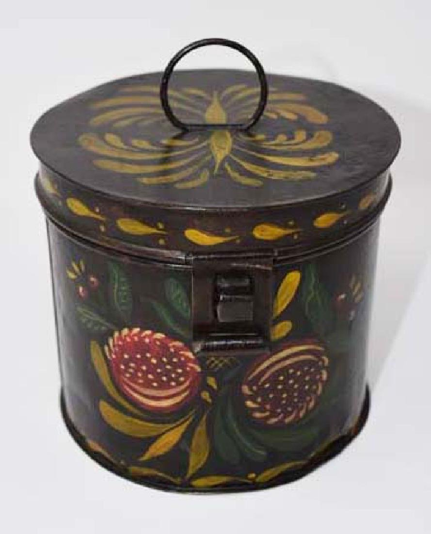 Tin tole decorated hinged lid container
