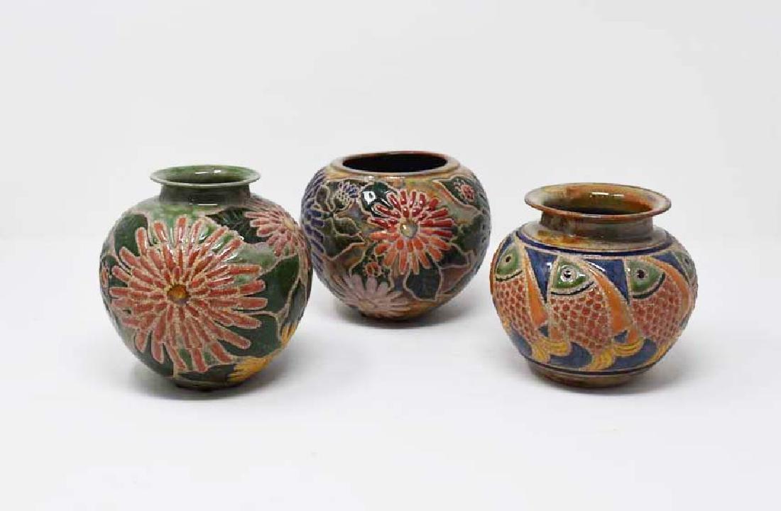 3 Cathra-Anne Barker vases - 2