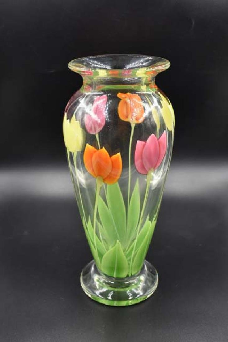 Orient and Flume art glass vase signed Sillars