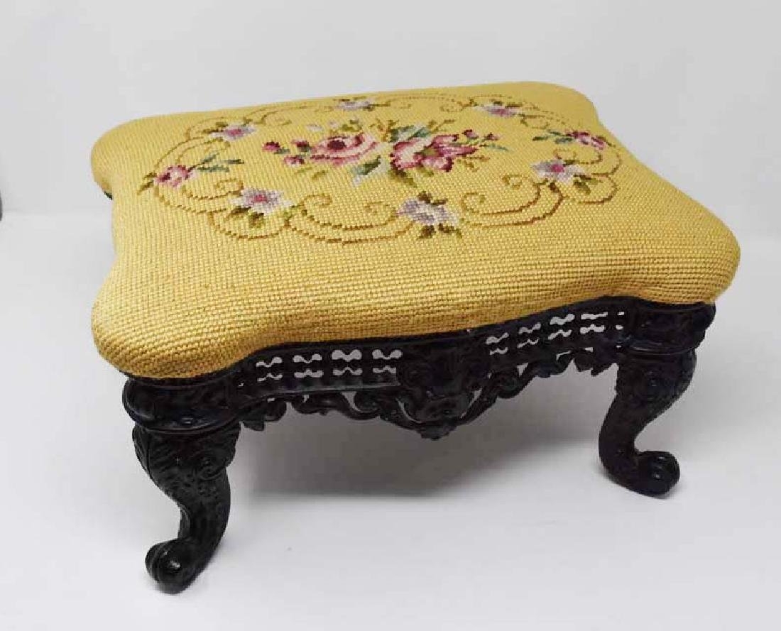 Footstool with ornate cast iron frame - 2