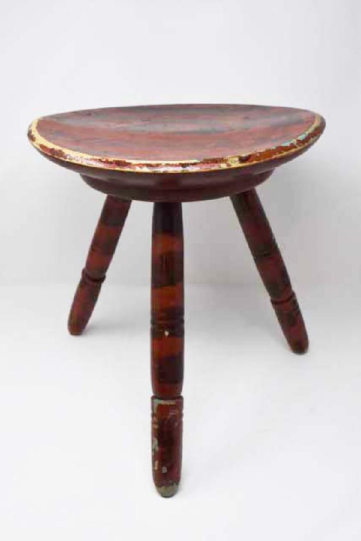 Paint decorated 3 leg stool