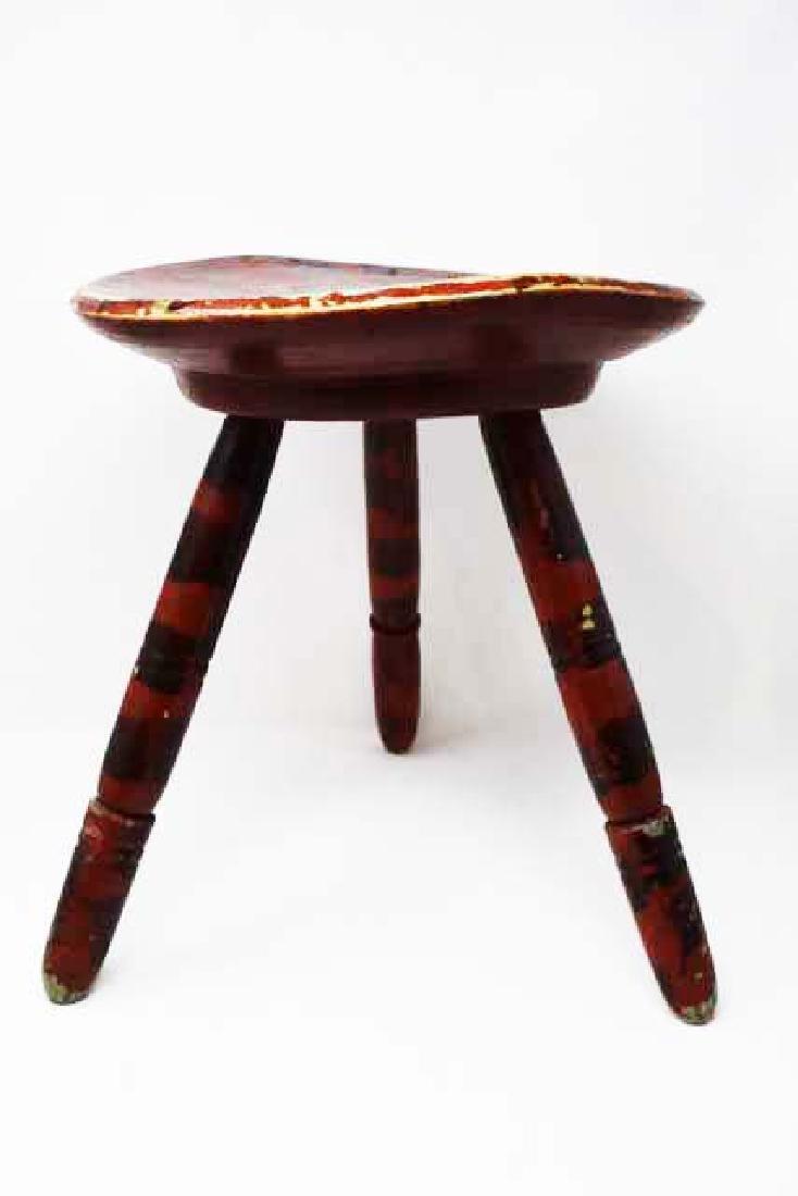 Paint decorated 3 leg stool - 3