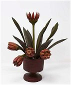 Carved wooden pot of flowers by Frank Finney
