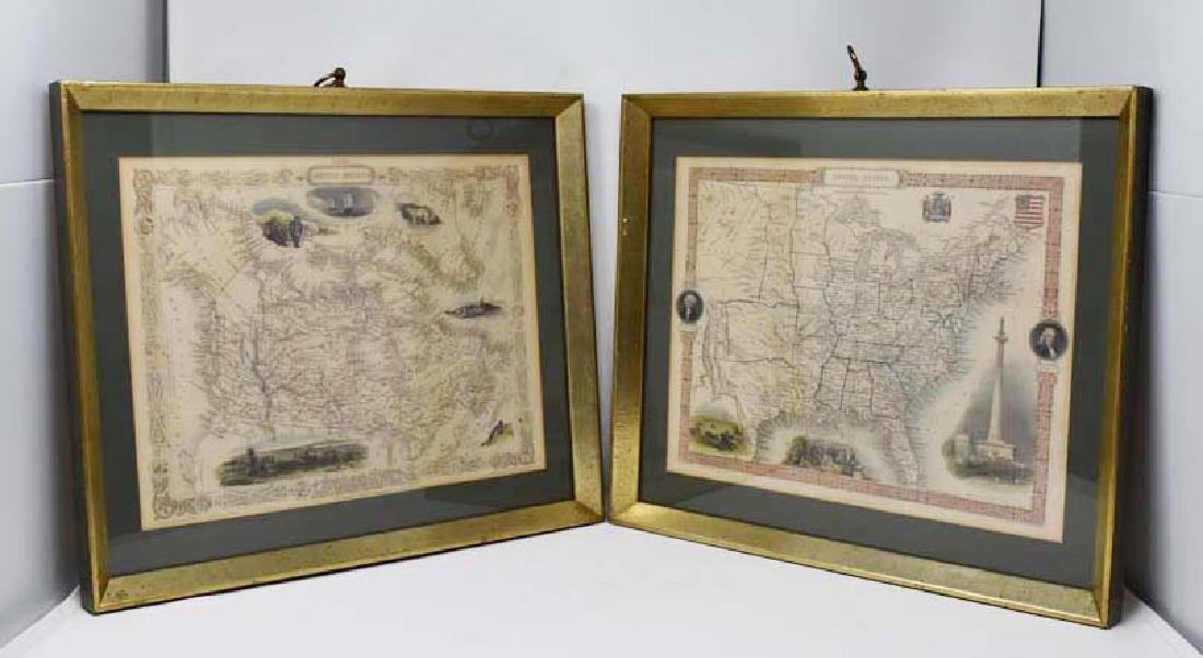 2 Framed antique maps