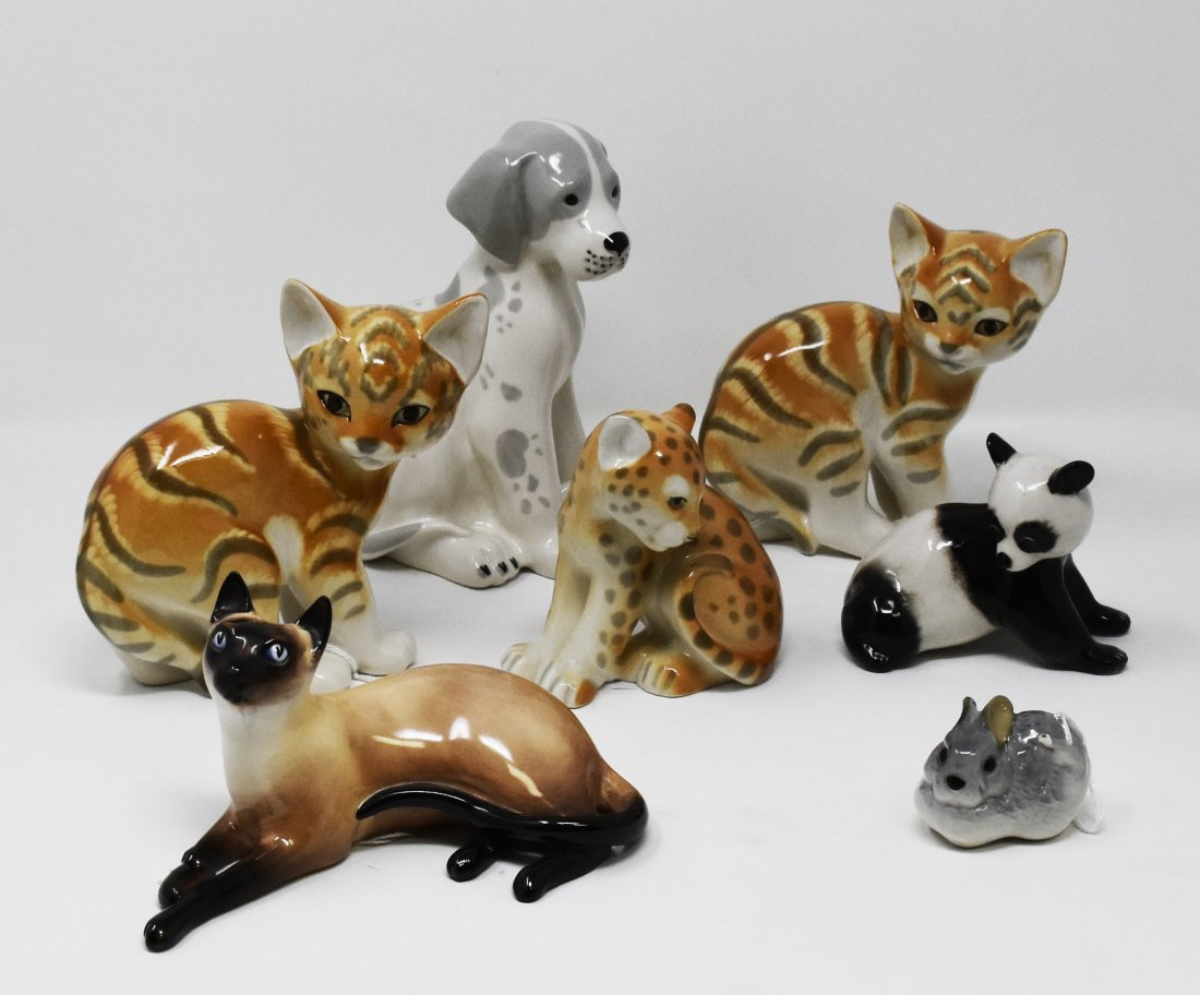 7 porcelain animal figures