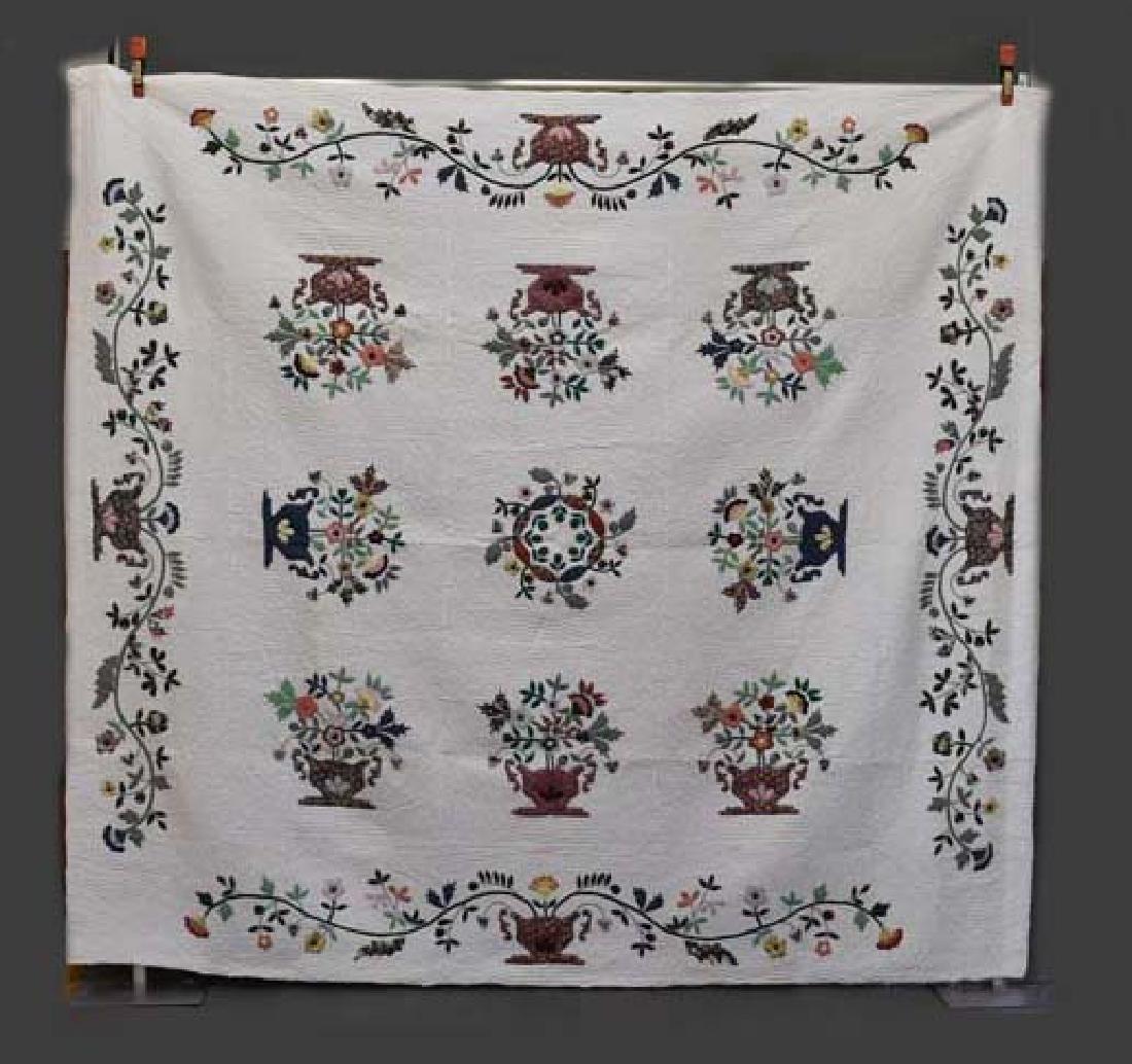 Hand stitched applique Amish quilt