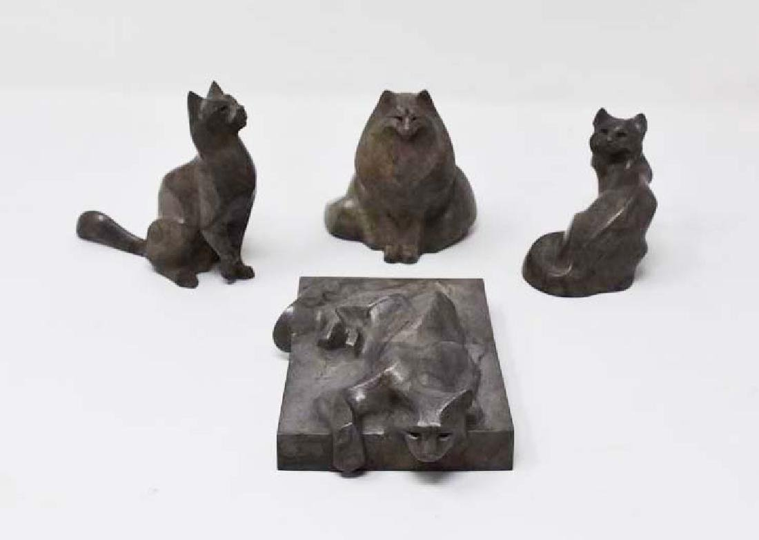 4 signed Rosetta limited edition bronze cats