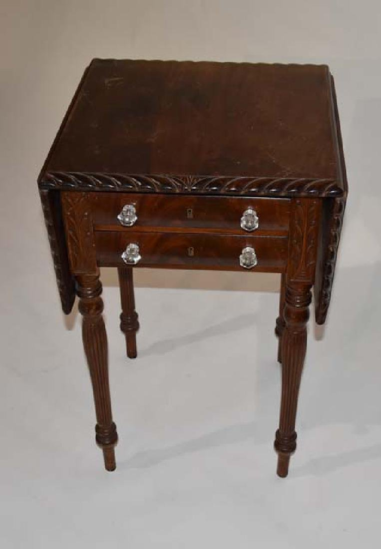 Mahogany drop leaf 2 drawer stand