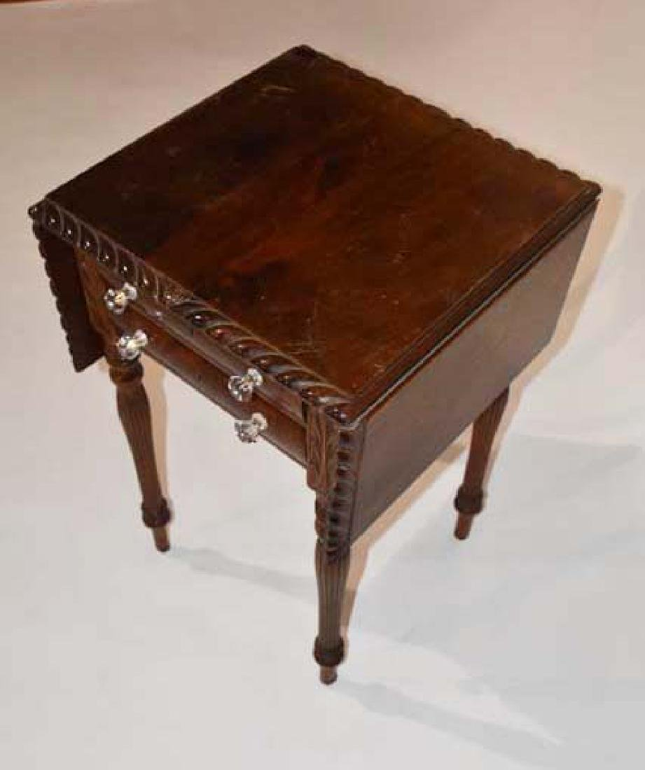 Mahogany drop leaf 2 drawer stand - 2